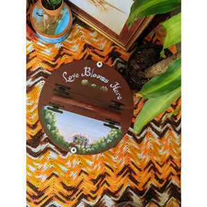 kitschy hand painted decor basket